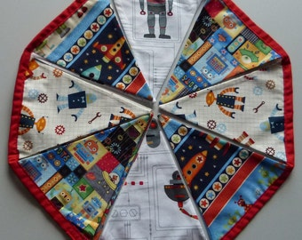 Reusable Fabric Bunting / Flags / Pennants Robot Rocket Alien Circuit Board