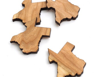 State of Texas Minis - With or Without Holes -  4 pcs. Black Cherry Wood Charms by Timber Green Woods. Made in the USA!