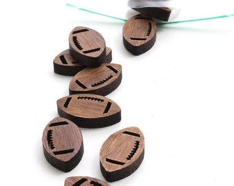 Mini Football Charms - Itsies - Laser Cut Black Walnut Wood Footballs - Pack of 15 - Charms or Beads - Timber Green Woods - Made in U.S.A.