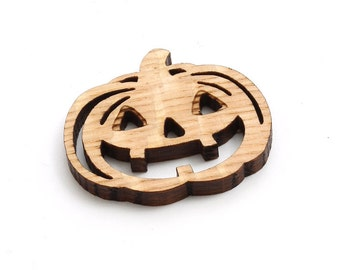 "XXL Mini Jack-O-Lantern Beads - 2"" Size - Laser Cut Wood - Etsy Itsies by Timber Green Woods"