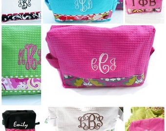 monogrammed makeup bag, personalized cosmetic bag, design your own