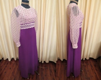 Vintage 70s Purple Polka Dot Formal Maxi Dress With Puffed Sleeves