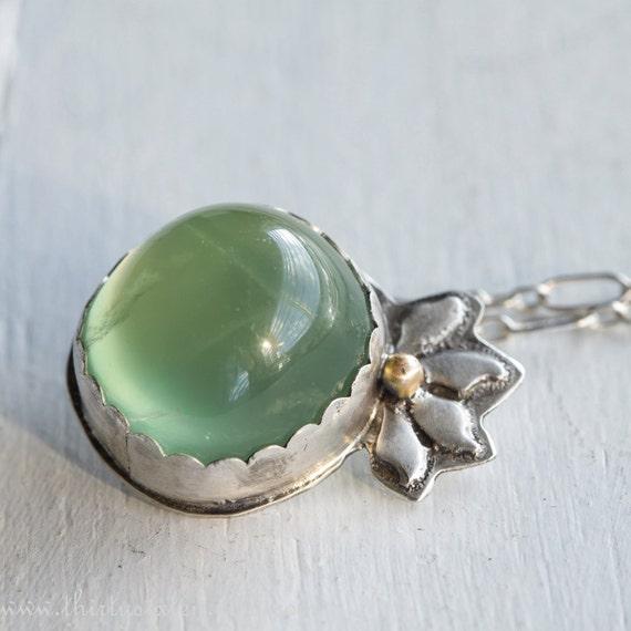 Prehnite Necklace in sterling silver