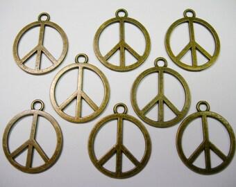 SPECIAL - Antiqued Bronze Peace Sign Drops, pendants -8 - 25mm x 21mm
