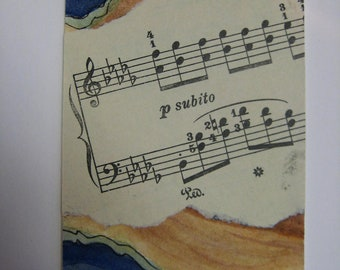 Music Notes ACEO, Original watercolor upcycled music sheet collage, Name that tune, 296 watercolorsNmore