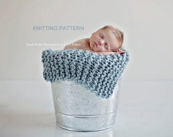 Printable KNITTING PATTERN Ribbed Mini-Blanket - DIY, baby, photography prop, instant download