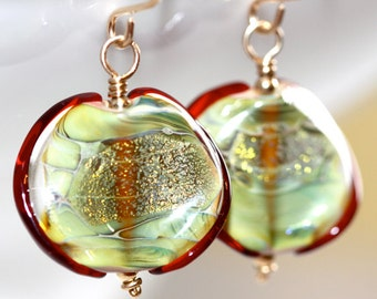 Green Lampwork Earrings - 'Nagging Feud'