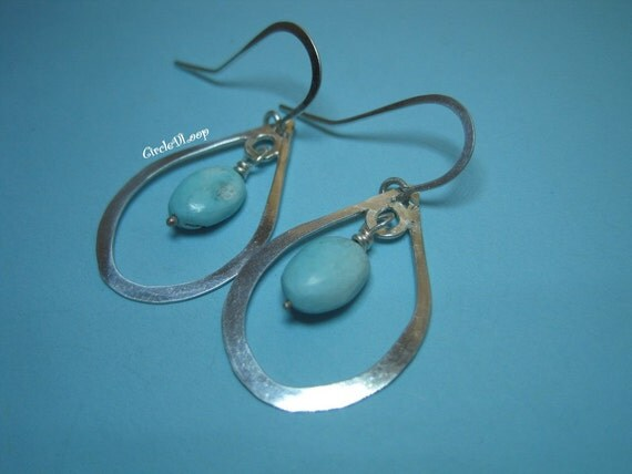 Raindrop  hoop with turquoise sterling silver earrings