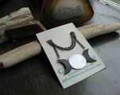 Triple Moon Phase Necklace - upcycled bicycle innertube