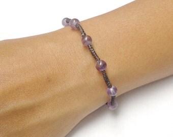 Perfect Purple Amethyst BEAD Fair Trade Macrame Braided Womens Wristband Bracelet Jewelry