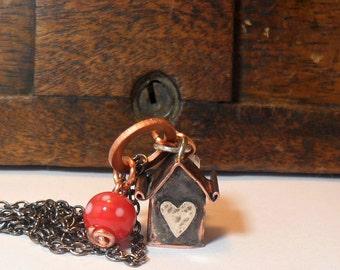 Love House Pendant /Long Necklace /Miniature House Necklace