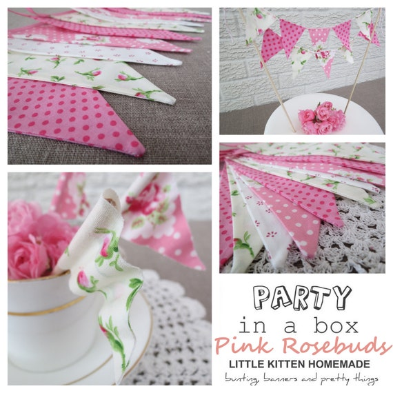 Party in a Box - PINK ROSEBUDS - Contains Shabby Chic Bunting, Cake Bunting and Cupcake Flags - Perfect for Weddings, Showers and Parties