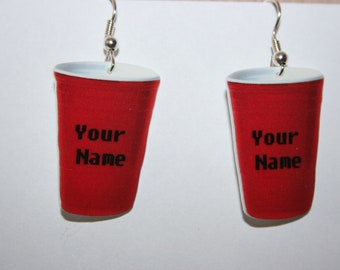 Personalized Red Solo Cup Earrings Jewelry-Your Name on The Cup
