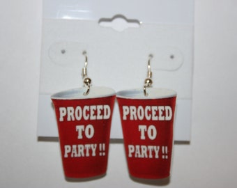 Red Solo Cup Earrings Jewelry-Proceed to Party-Party Favor