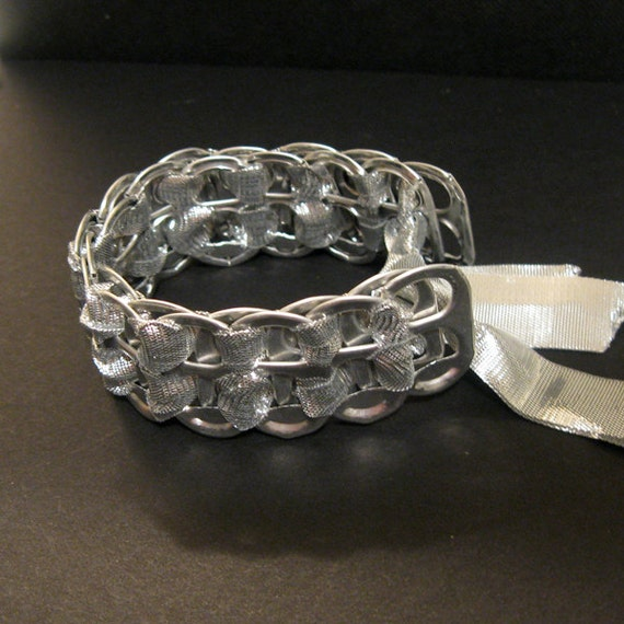 Recycled Soda Pop Can Tab Bracelet Silver Ribbon