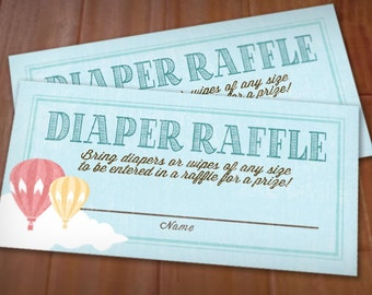 HOT AIR BALLOON Diaper Raffle Printable Ticket in Coral- Instant Download