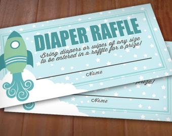ROCKET Diaper Raffle Printable Ticket in Seafoam Green and Teal- Instant Download