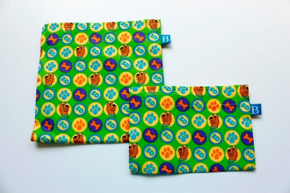 Reuseable Eco-Friendly Set of Snack and Sandwich Bags in Scooby Doo Fabric