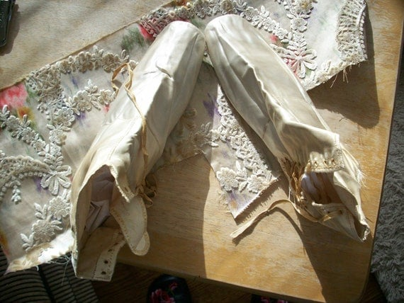 reserved 19th century bridal shoes for display or prop