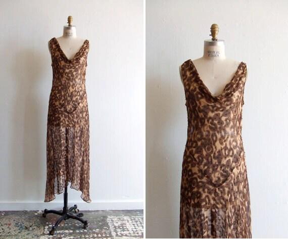 FINAL SALE////Vintage 1970s leopard print silk chiffon bias cut dress