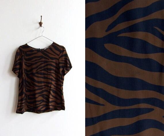 Vintage 1990s silk zebra print blouse top