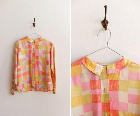 Vintage 1960s silk checkered blouse with peter pan collar