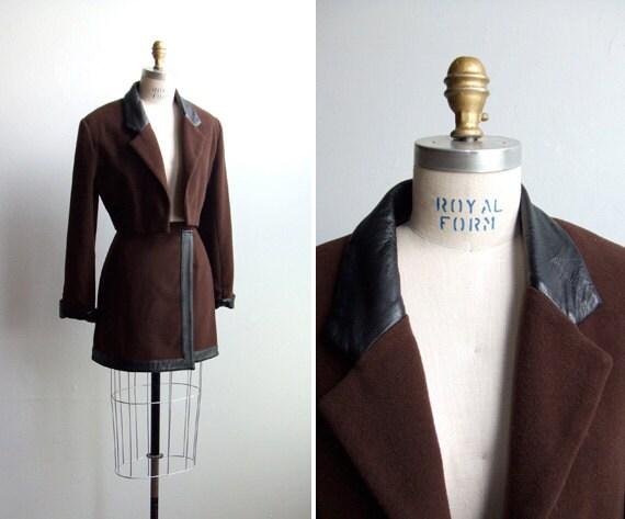 SALE///Vintage 1980s designer wool skirt suit with leather details