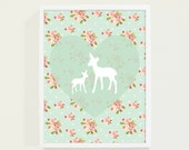 Heart Mint Green Nursery Art - Pink Floral Deer Kids Wall Art - Nursery Decor - Pastel Children Decor - Nursery Wall Art for Baby Girls Room - fieldtrip