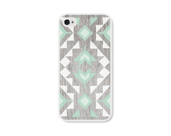 Mint Geometric Phone Case iPhone 4 / 4s  or iPhone 5 / 5s - Geometric iPhone 5c Case iPhone 5s Case Wood iPhone 5 Case Tribal iPhone 4 Case