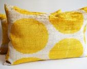 Sukan / SET (2 Piece) SALE - Soft Handwoven - Silk Velvet Pilka-dot Ikat Pillow Cover - Yellow, Beige