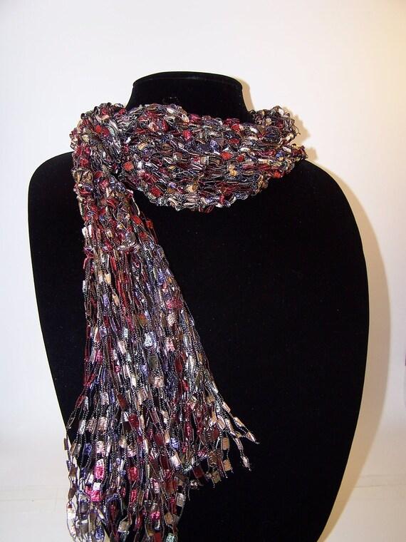 Ladder Yarn Knit Scarf in Burgundy Womens Knit by WeeCatCreations