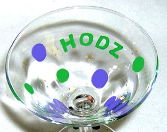 Martini Glass Personalized Polka Dots Hand Painted