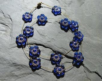 cobalt blue flower floating necklace