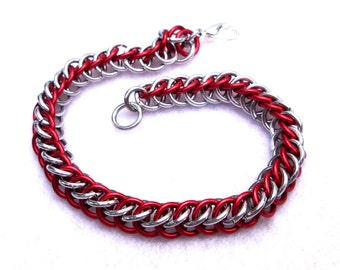 Chainmaille Jewellery, Chainmail Bracelet, Red and Silver Half Persian