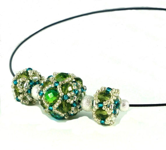 Beaded Bead Necklace - Green, Silver and Teal Beaded Beads with Silverdust Spacers