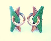 Matisse Copper Vintage Clip modernist deco green earrings