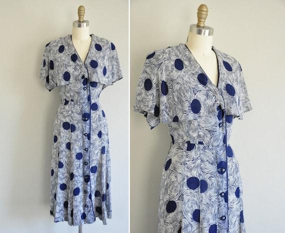 r e s e r v e d...40s dress / vintage 1940s chiffon print flutter plus size dress / When Its Rains Out
