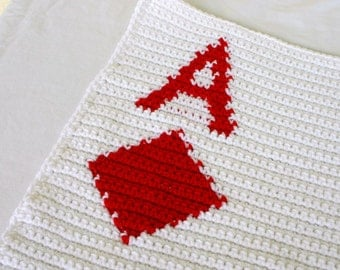 Crocheted afghan ace of diamonds blanket white red throw parallelogram poker card neutral home decor coverlet washable fun