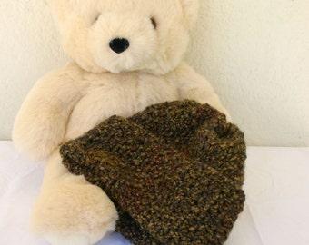 Crocheted hat brown green with brim winter wear large women men skullcap soft medium brown olive green warm washable fashion