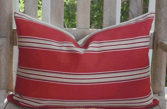 Special Listing for Julia  - 4 Red Stripe Outdoor 12 X 18 inch Accent Throw Pillow Covers