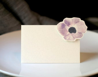 Anemone Flower- Small Tented Card - Place card, escort card for events, parties, weddings