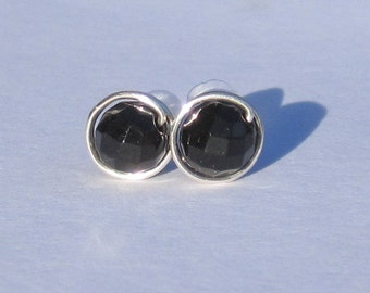 Black Onyx Stud Earrings (8mm), Gemstone Stud Earrings, Wire Wrapped Sterling Silver Stud Earrings, Faceted Onyx Stud Earrings