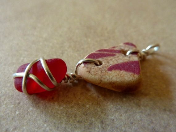 Sea Glass Pendant - Vintage Rare Red Sea Glass with Red Printed Sea Pottery