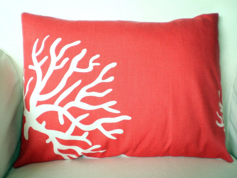 Coral Lumbar Pillow Cover Decorative Throw Pillow Cushion
