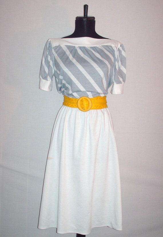 Vintage 1980s Dress Grey and White Stripes