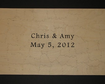 """61-68 pc Wooden Guestbook Puzzle - Can Be PERSONALIZED - 13"""" X 22"""" HAND CUT"""