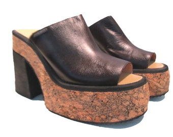 Womens Cork Platform Sandals Dark Brown Leather Bohemian Slide Stacks from Spain Euro size 39  Wms US size 8 1/2