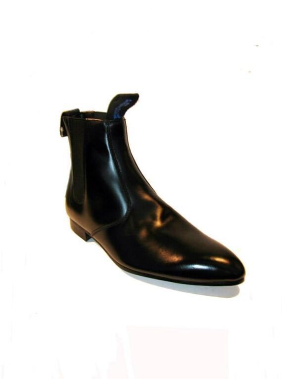 Vintage Men's Old School Black Leather Chelsea Beatle Boots size 8