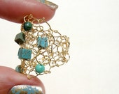 Big Gold Mesh Turquoise Cocktail Ring Wide Wire Lace Half Finger Ring Funky Cool Hand Knit Jewelry