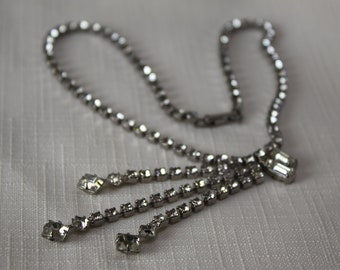 Vintage Rhinestone Off to the side triple drop necklace Clear and Bright